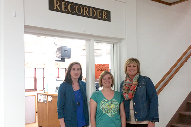 Recorder's Office Staff L to R: Megan Sikora, LaDonna Wildeman and Susan Ruppert
